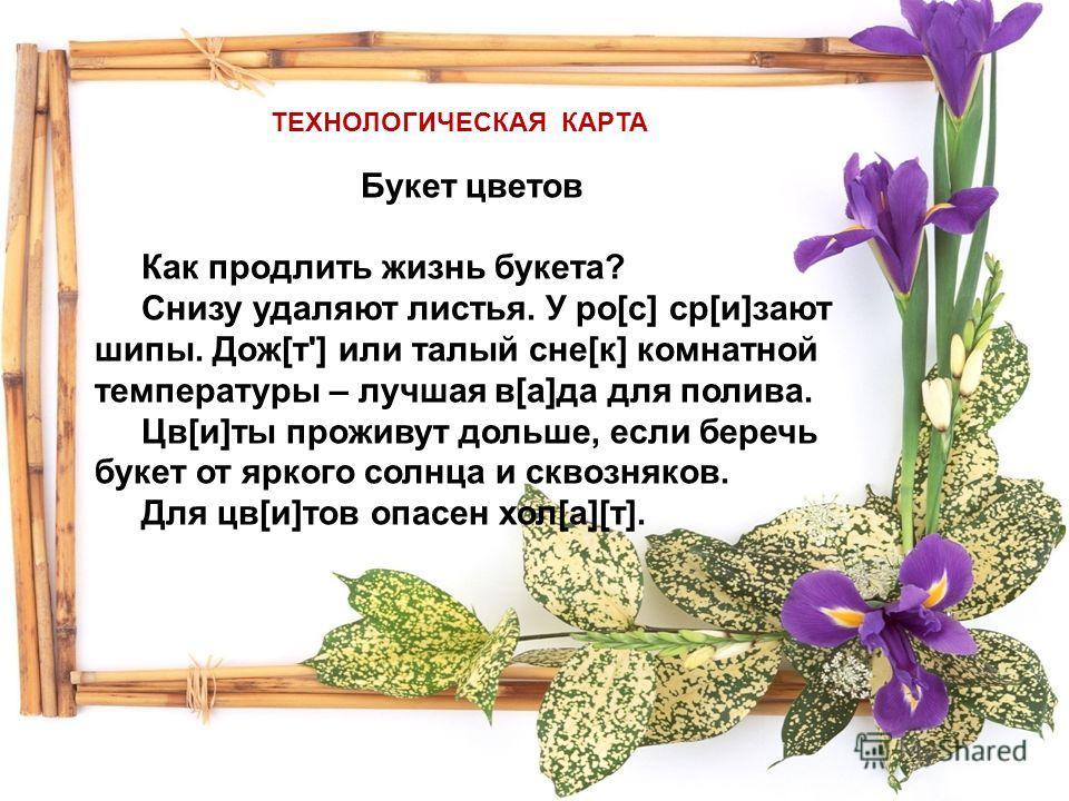 арточка Букет цветов Как продлить жизнь букета? Снизу удаляют листья. У ро[с] ср[и]зают шипы. Дож[т'] или талый сне[к] комнатной температуры – лучшая в[а]да для полива. Цв[и]ты проживут дольше, если беречь букет от яркого солнца и сквозняков. Для цв[