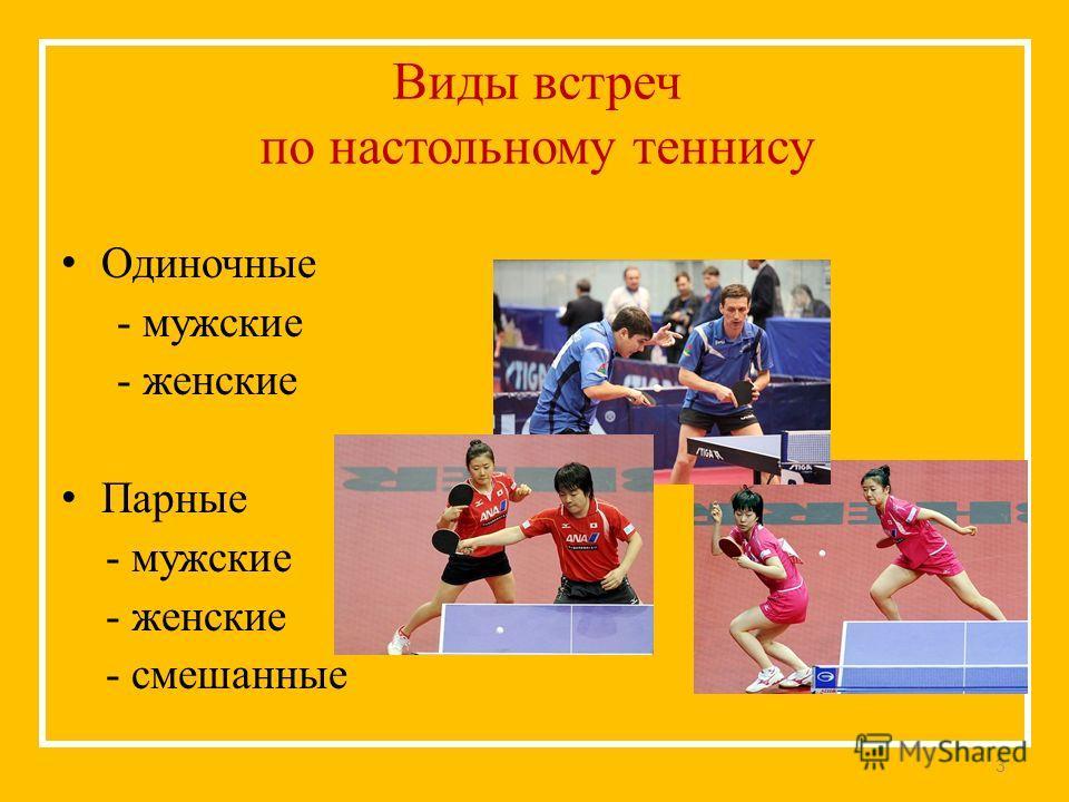 Виды встреч по настольному теннису Одиночные - мужские - женские Парные - мужские - женские - смешанные 3