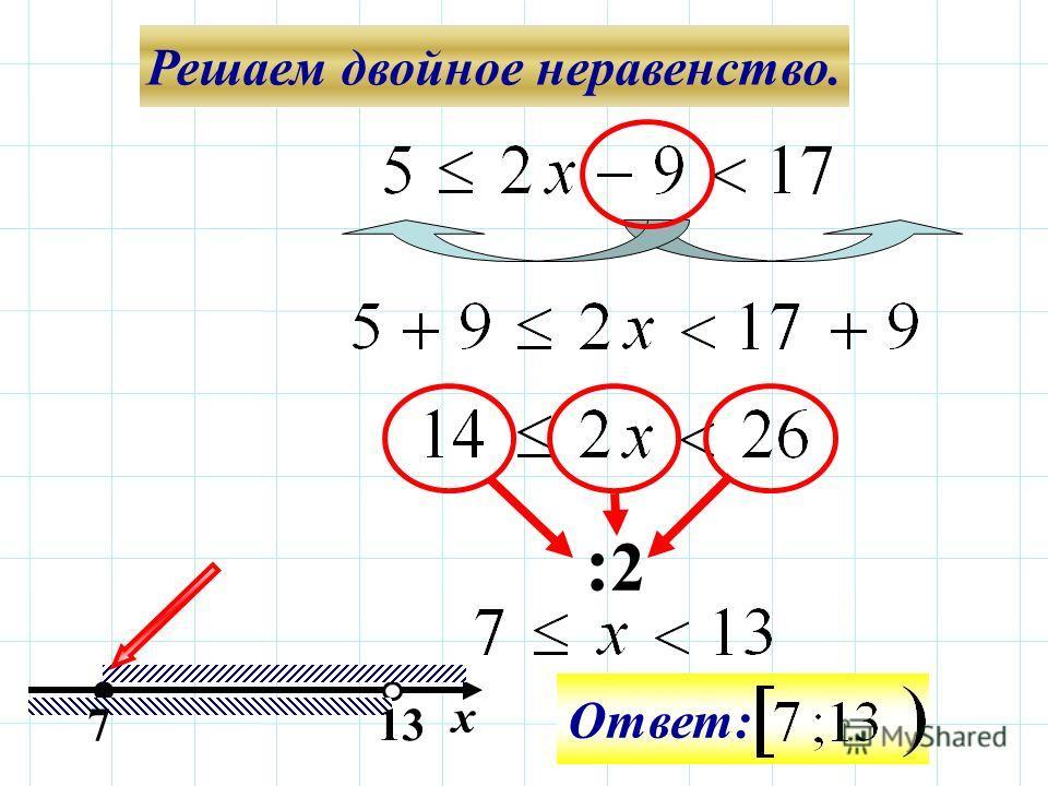 Решаем двойное неравенство. :2:2 713 Ответ: х