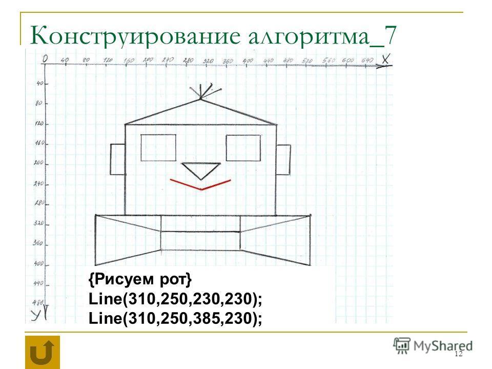 12 Конструирование алгоритма_7 {Рисуем рот} Line(310,250,230,230); Line(310,250,385,230);