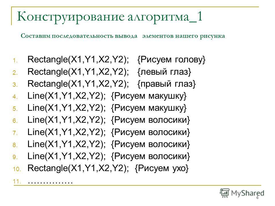 6 Конструирование алгоритма_1 Составим последовательность вывода элементов нашего рисунка 1. Rectangle(X1,Y1,X2,Y2); {Рисуем голову} 2. Rectangle(X1,Y1,X2,Y2); {левый глаз} 3. Rectangle(X1,Y1,X2,Y2); {правый глаз} 4. Line(X1,Y1,X2,Y2); {Рисуем макушк
