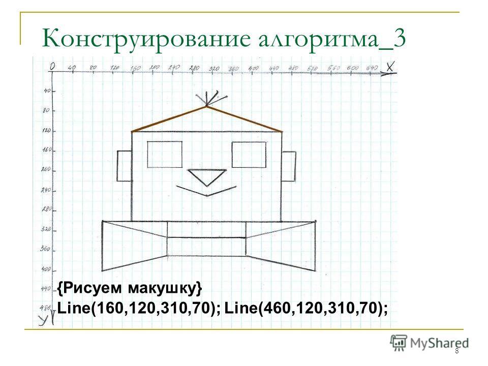 8 {Рисуем макушку} Line(160,120,310,70); Line(460,120,310,70); Конструирование алгоритма_3