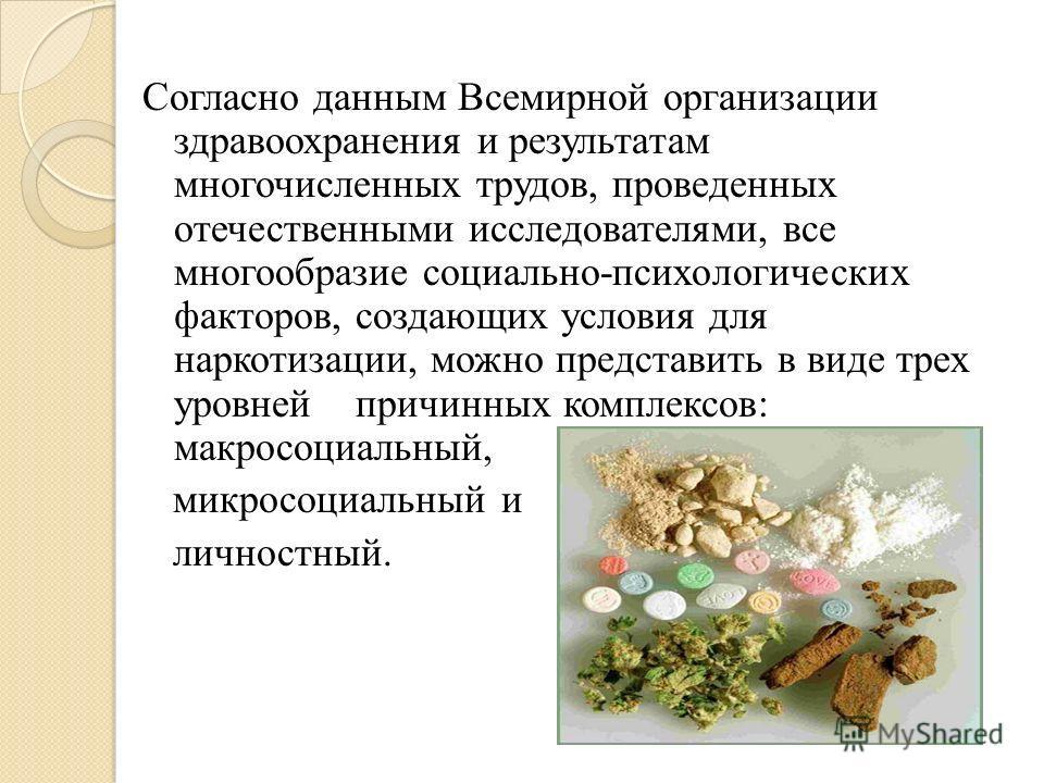 Согласно данным Всемирной организации здравоохранения и результатам многочисленных трудов, проведенных отечественными исследователями, все многообразие социально-психологических факторов, создающих условия для наркотизации, можно представить в виде т