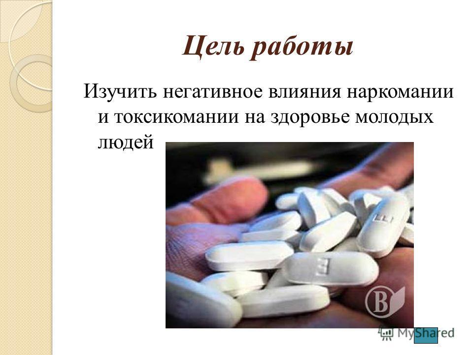 Цель работы Изучить негативное влияния наркомании и токсикомании на здоровье молодых людей