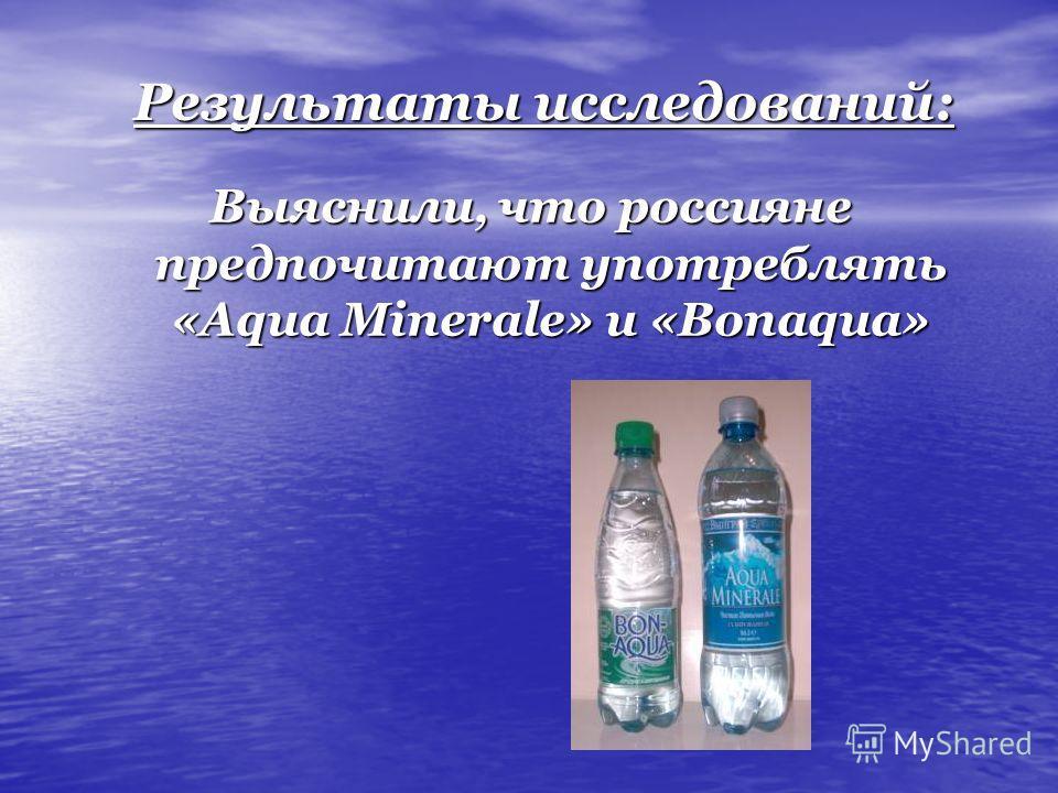 Результаты исследований: Выяснили, что россияне предпочитают употреблять «Aqua Minerale» и «Bonaqua»