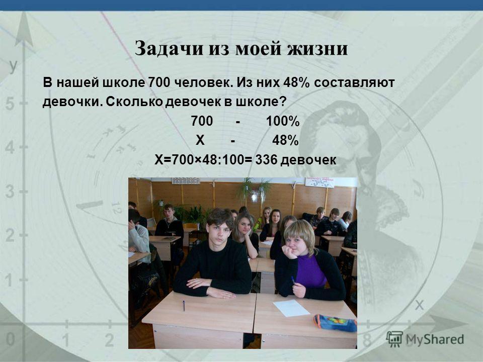 Задачи из моей жизни В нашей школе 700 человек. Из них 48% составляют девочки. Сколько девочек в школе? 700 - 100% Х - 48% Х=700×48:100= 336 девочек