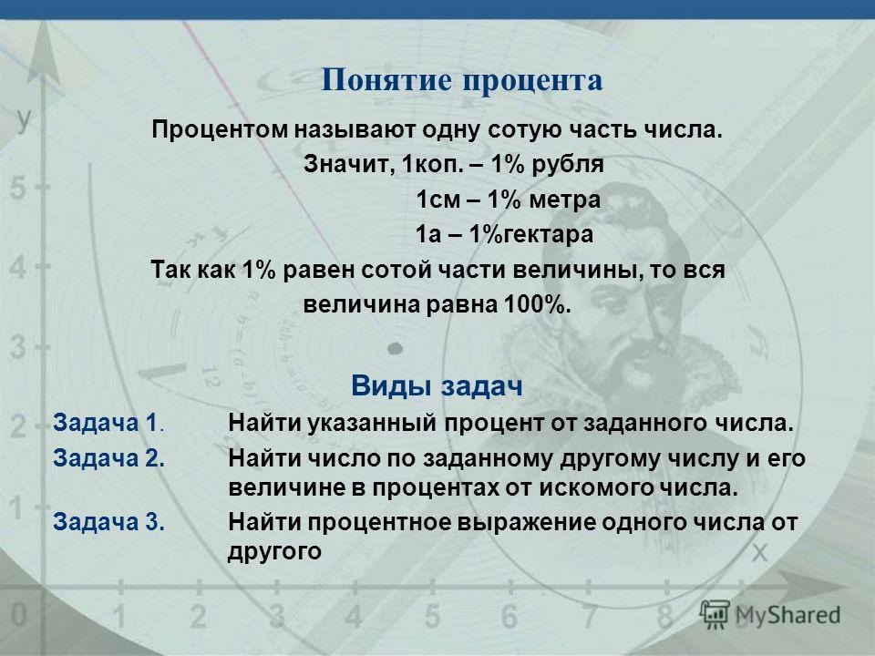 Процентом называют одну сотую часть числа. Значит, 1коп. – 1% рубля 1см – 1% метра 1а – 1%гектара Так как 1% равен сотой части величины, то вся величина равна 100%. Виды задач Задача 1.Найти указанный процент от заданного числа. Задача 2.Найти число