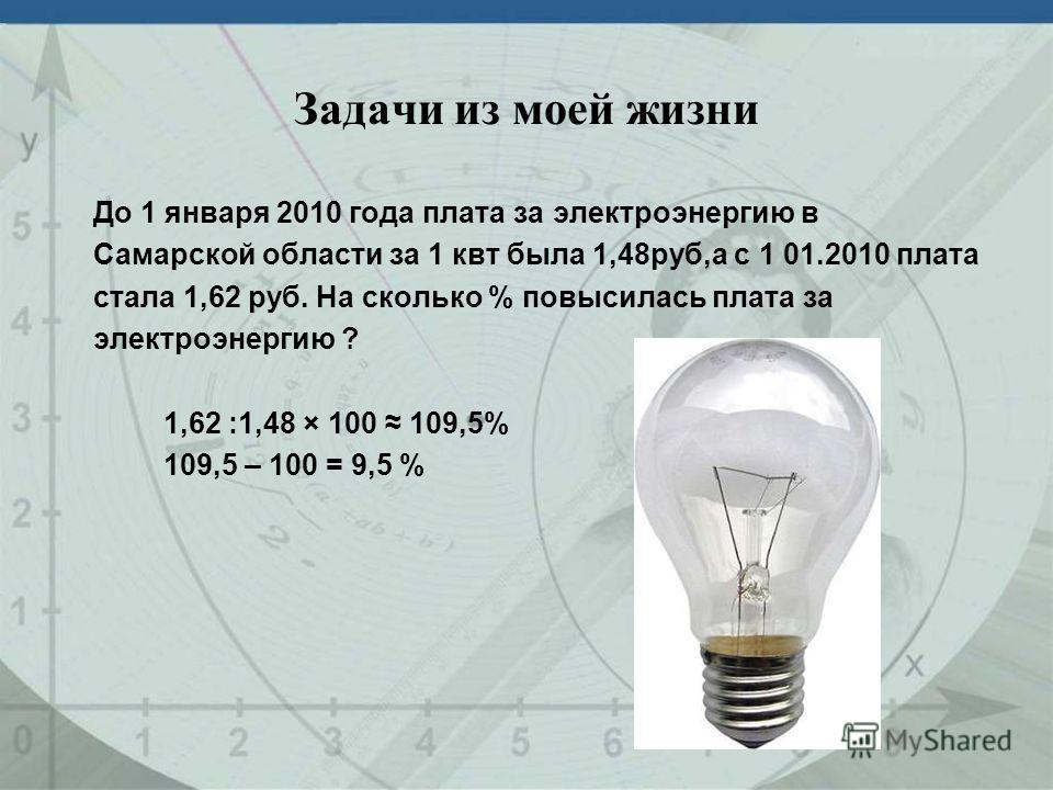 Задачи из моей жизни До 1 января 2010 года плата за электроэнергию в Самарской области за 1 квт была 1,48руб,а с 1 01.2010 плата стала 1,62 руб. На сколько % повысилась плата за электроэнергию ? 1,62 :1,48 × 100 109,5% 109,5 – 100 = 9,5 %