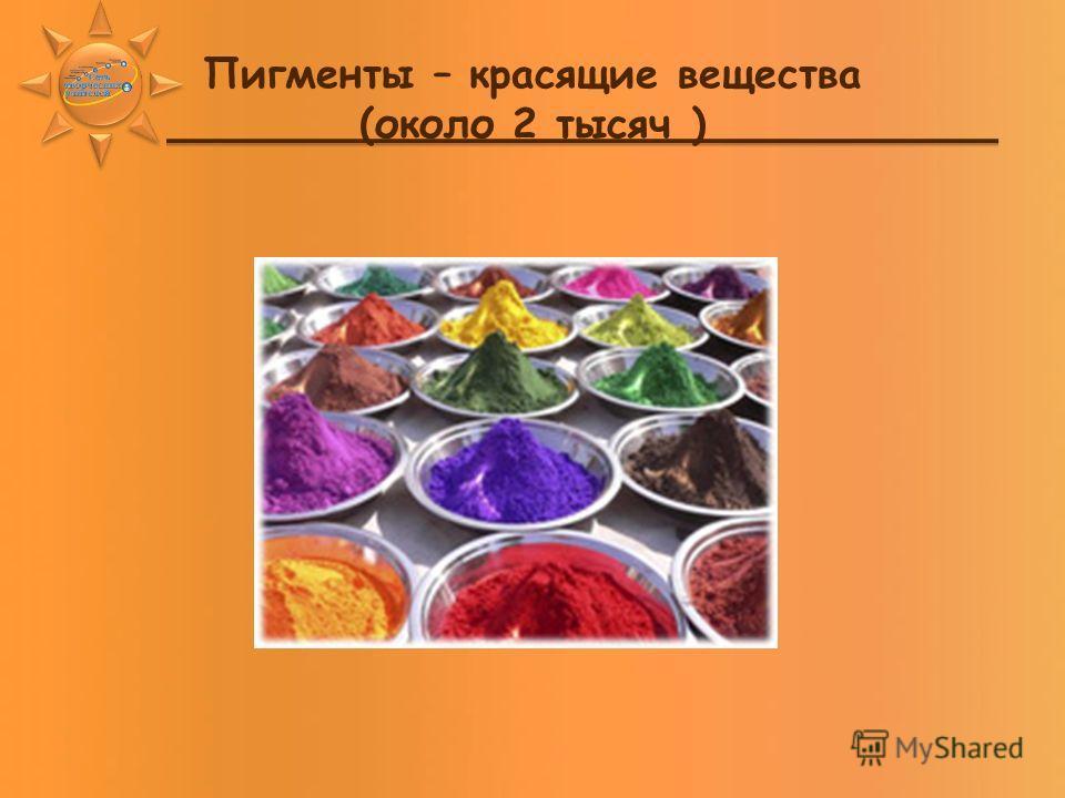 Пигменты – красящие вещества (около 2 тысяч )
