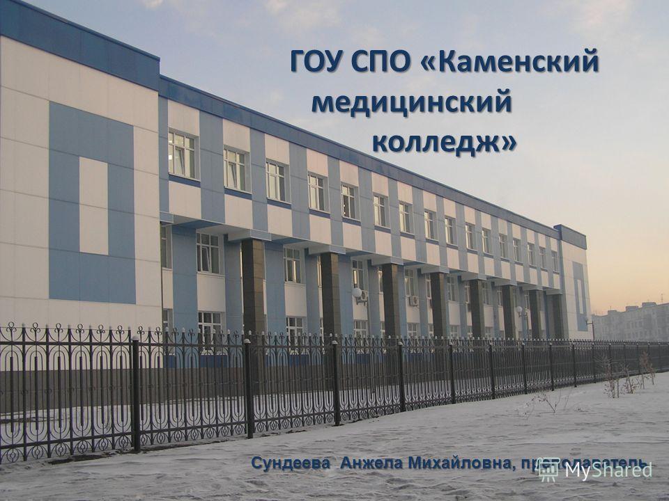 ГОУ СПО «Каменский медицинский колледж» Сундеева Анжела Михайловна, преподаватель