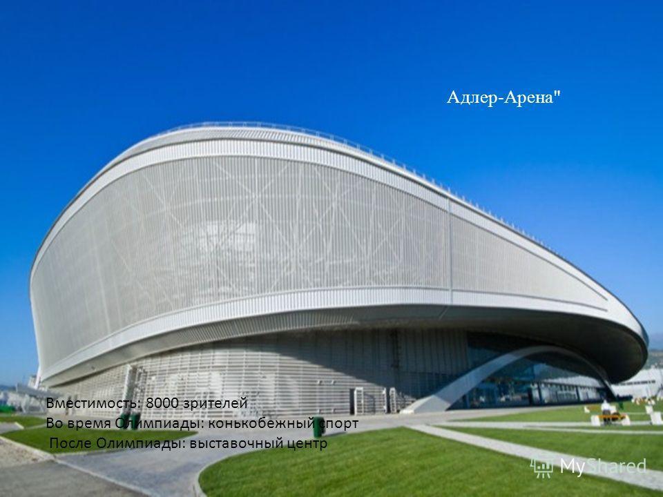 Адлер-Арена Вместимость: 8000 зрителей Во время Олимпиады: конькобежный спорт После Олимпиады: выставочный центр