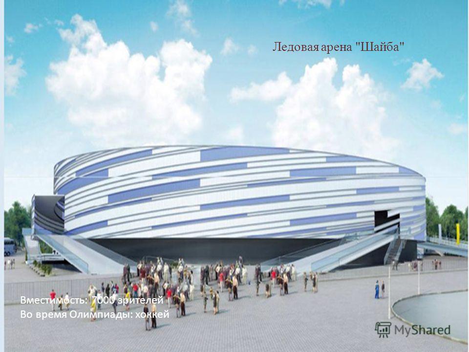 Ледовая арена Шайба Вместимость: 7000 зрителей Во время Олимпиады: хоккей