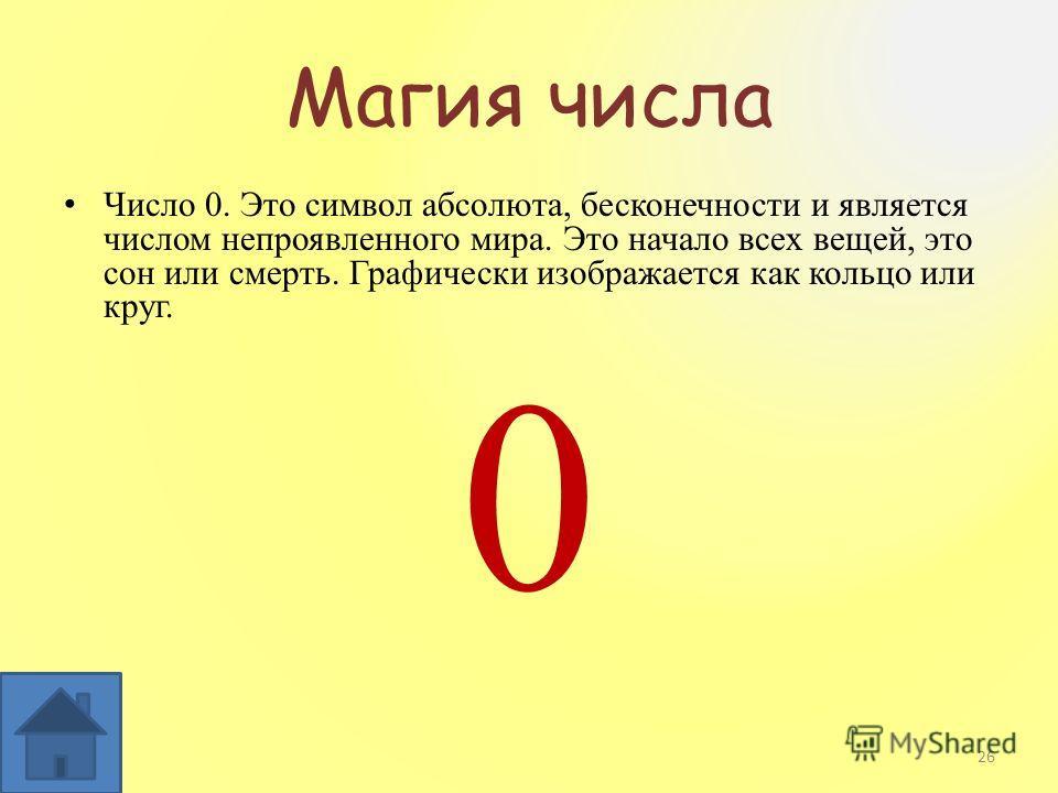 Магия числа Число 0. Это символ абсолюта, бесконечности и является числом непроявленного мира. Это начало всех вещей, это сон или смерть. Графически изображается как кольцо или круг. 0 26