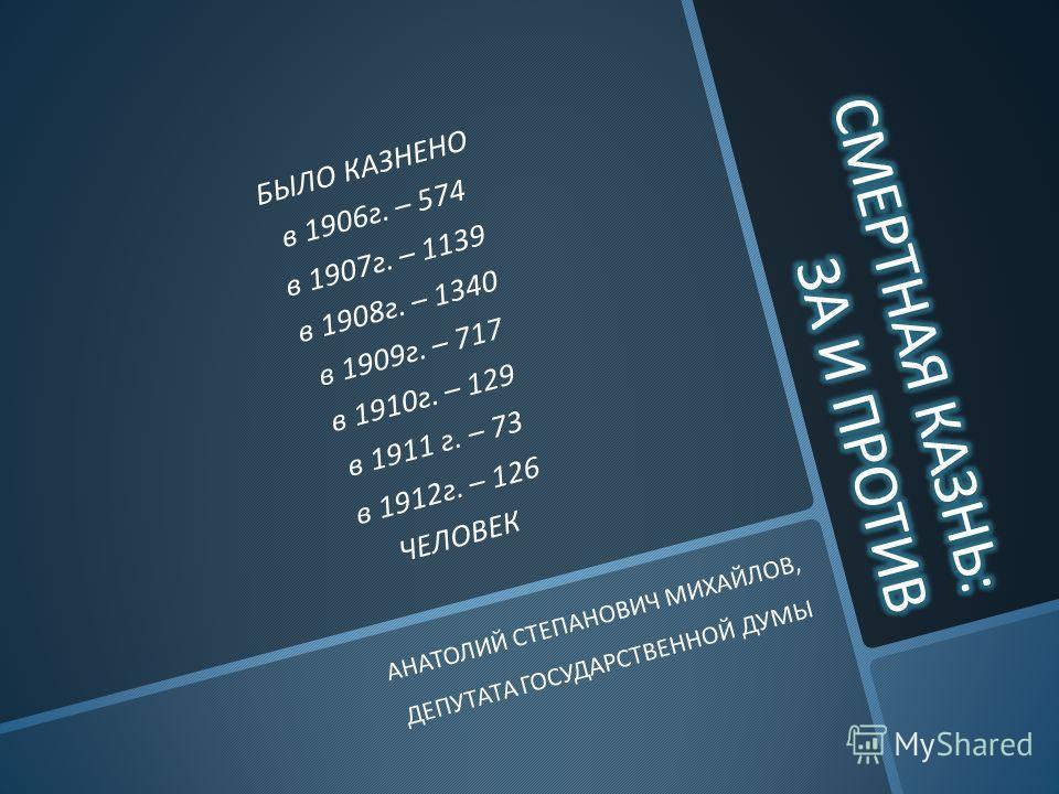 БЫЛО КАЗНЕНО в 1906г. – 574 в 1907г. – 1139 в 1908г. – 1340 в 1909г. – 717 в 1910г. – 129 в 1911 г. – 73 в 1912г. – 126 ЧЕЛОВЕК АНАТОЛИЙ СТЕПАНОВИЧ МИХАЙЛОВ, ДЕПУТАТА ГОСУДАРСТВЕННОЙ ДУМЫ