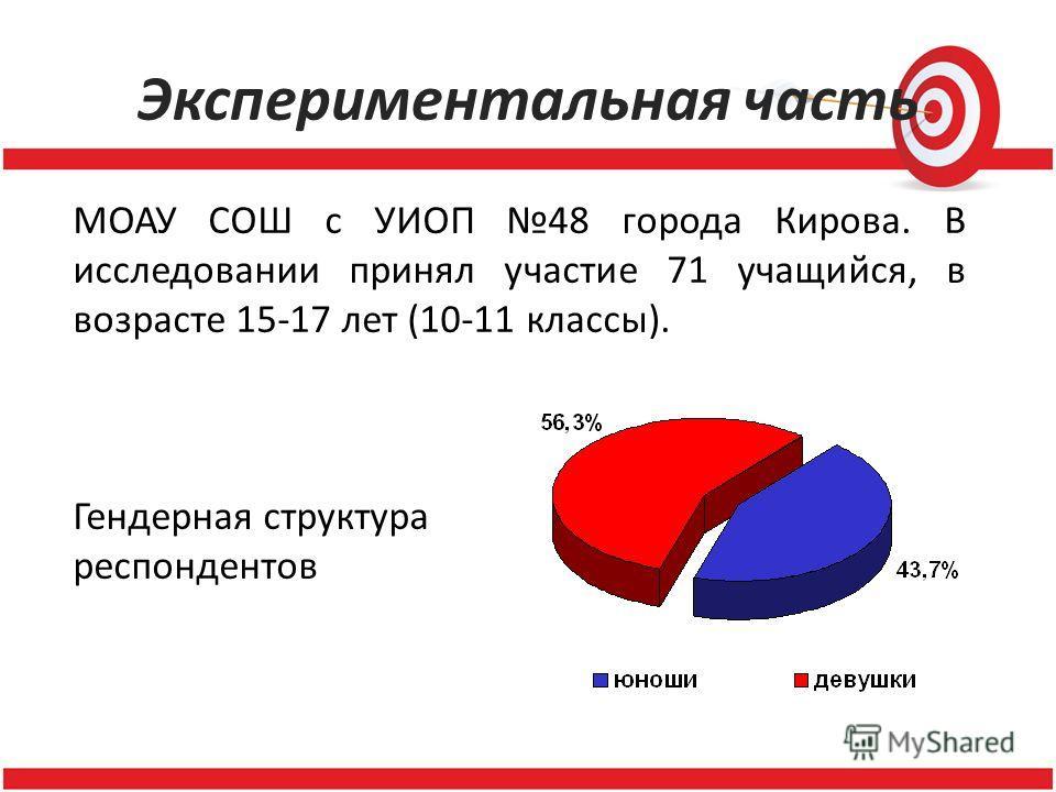 Экспериментальная часть МОАУ СОШ с УИОП 48 города Кирова. В исследовании принял участие 71 учащийся, в возрасте 15-17 лет (10-11 классы). Гендерная структура респондентов