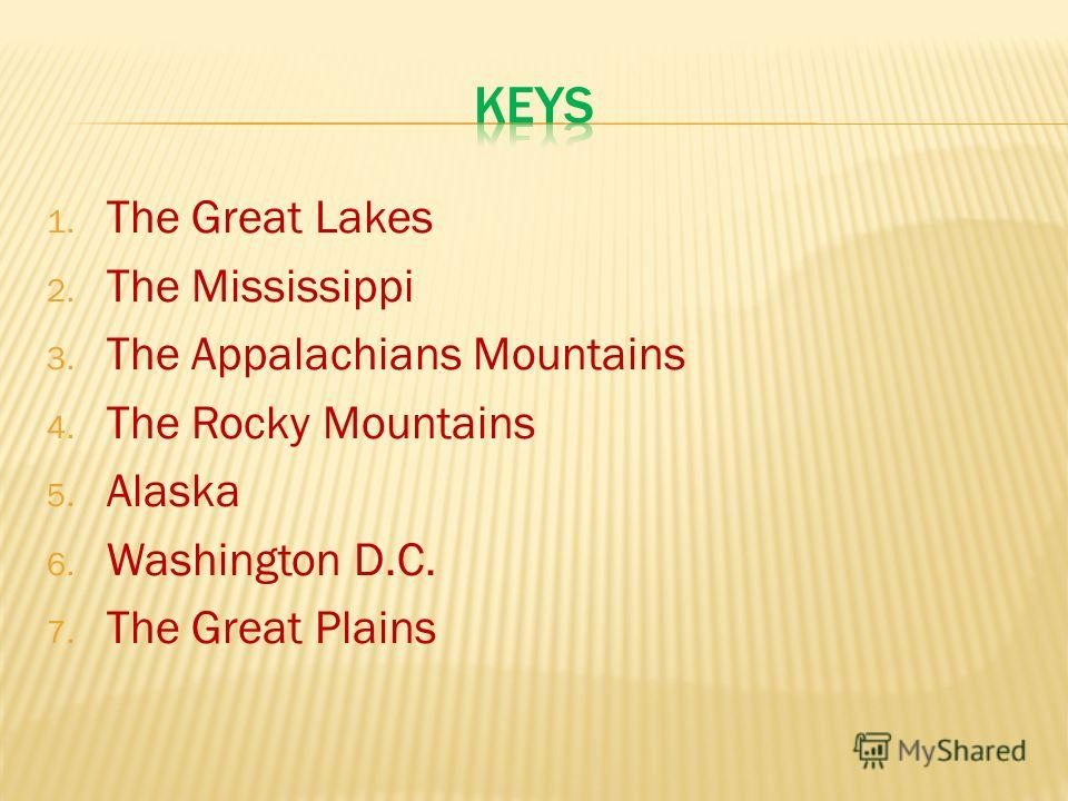 1. The Great Lakes 2. The Mississippi 3. The Appalachians Mountains 4. The Rocky Mountains 5. Alaska 6. Washington D.C. 7. The Great Plains