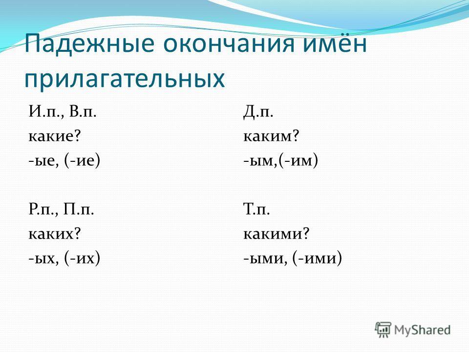 Падежные окончания имён прилагательных И.п., В.п. какие? -ые, (-ие) Р.п., П.п. каких? -ых, (-их) Д.п. каким? -ым,(-им) Т.п. какими? -ыми, (-ими)