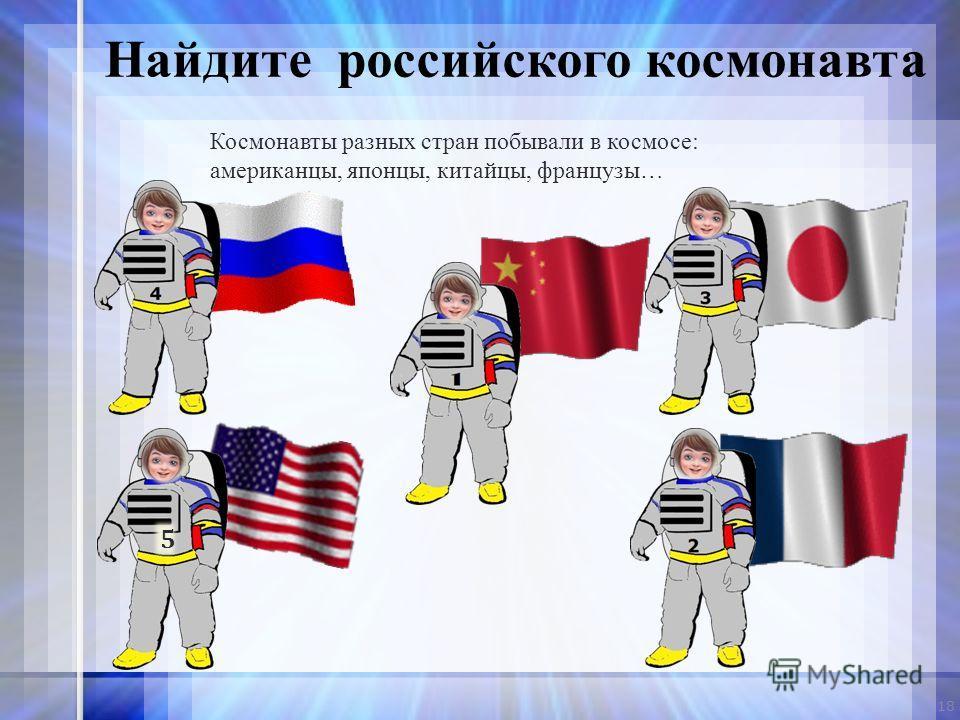 Космонавты разных стран побывали в космосе: американцы, японцы, китайцы, французы… 18 Найдите российского космонавта 5