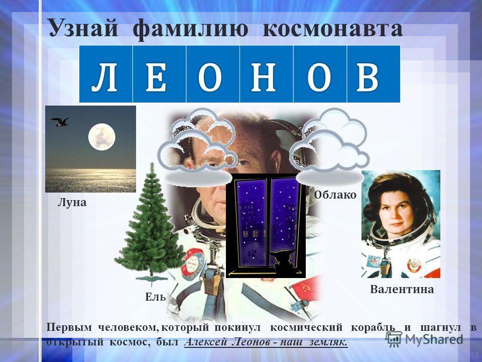 25 Луна Ночь Облако Валентина Ель Узнай фамилию космонавта Первым человеком, который покинул космический корабль и шагнул в открытый космос, был Алексей Леонов - наш земляк. Облако