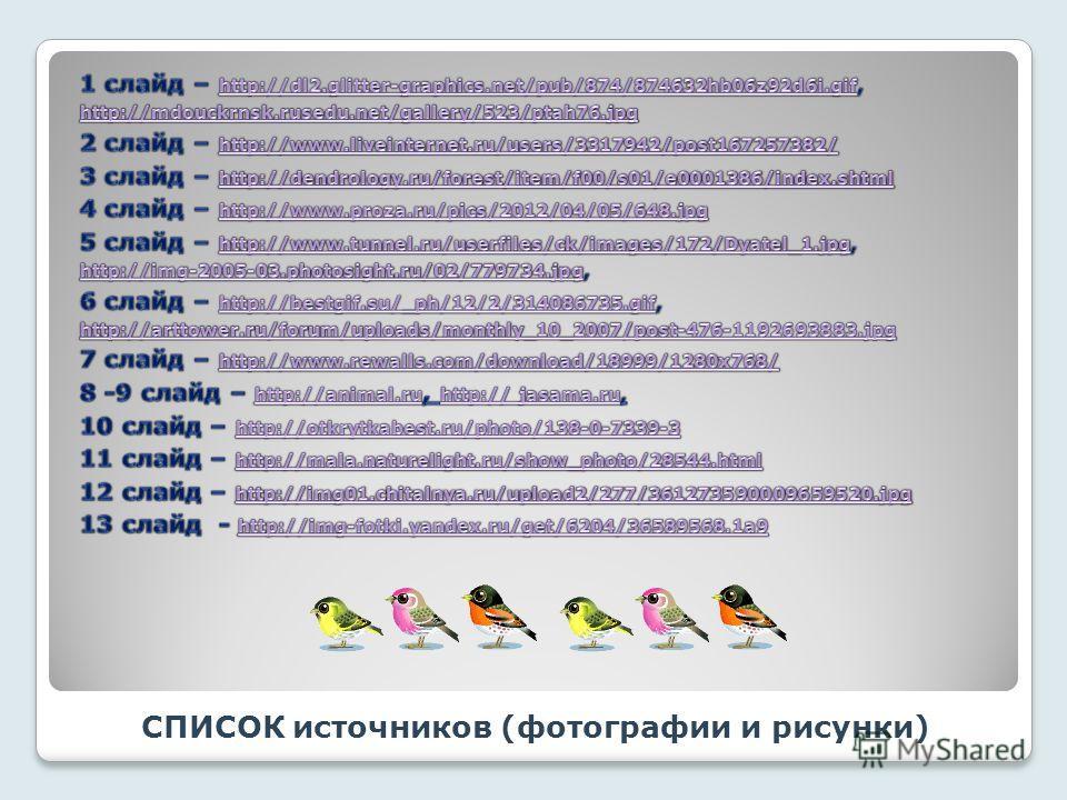 СПИСОК источников (фотографии и рисунки)