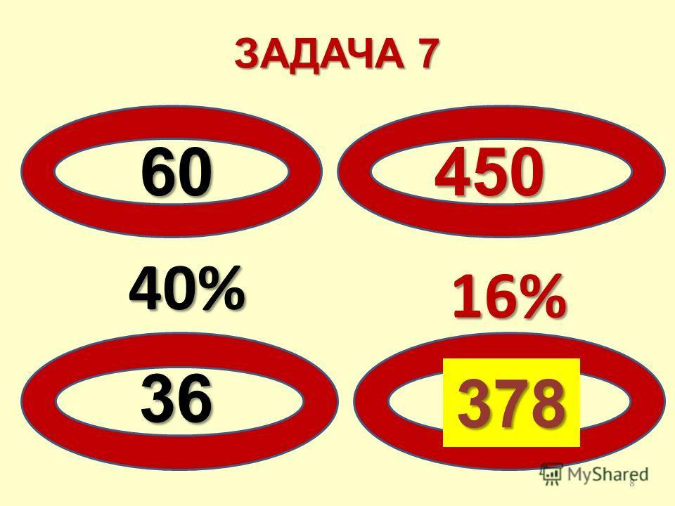 ЗАДАЧА 7 60450 40% 36? 16% 16% 378 8