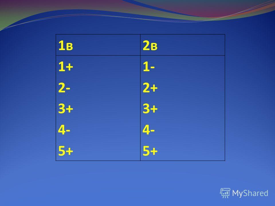 1в2в 1+ 2- 3+ 4- 5+ 1- 2+ 3+ 4- 5+