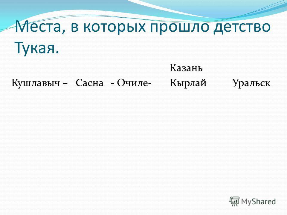 Места, в которых прошло детство Тукая. Казань Кушлавыч – Сасна - Очиле- Кырлай Уральск