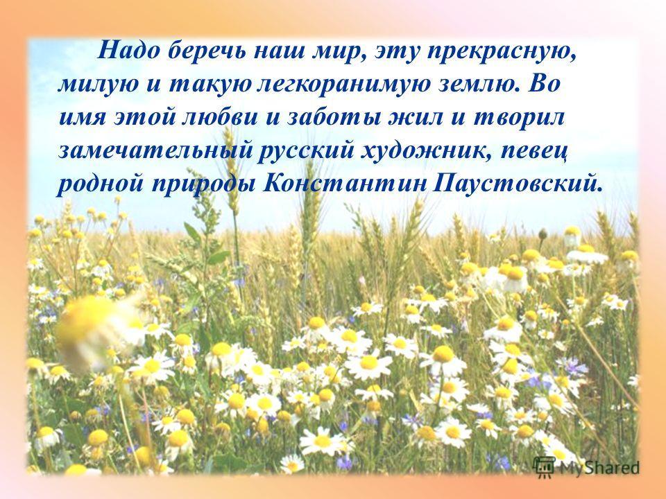 Надо беречь наш мир, эту прекрасную, милую и такую легкоранимую землю. Во имя этой любви и заботы жил и творил замечательный русский художник, певец родной природы Константин Паустовский.