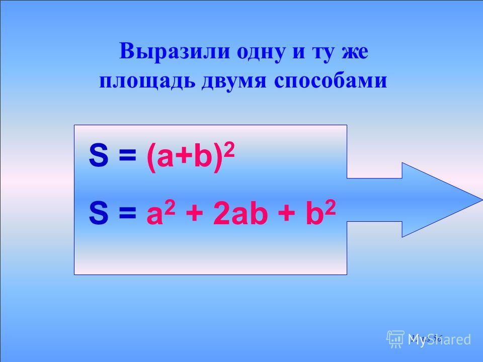 ПЛОЩАДЬ КВАДРАТА РАВНА S1+S2+S3+S4 S2S3 S4 S1 +++ а 2 ab b 2 а 2 + 2ab + b 2 10 из 56