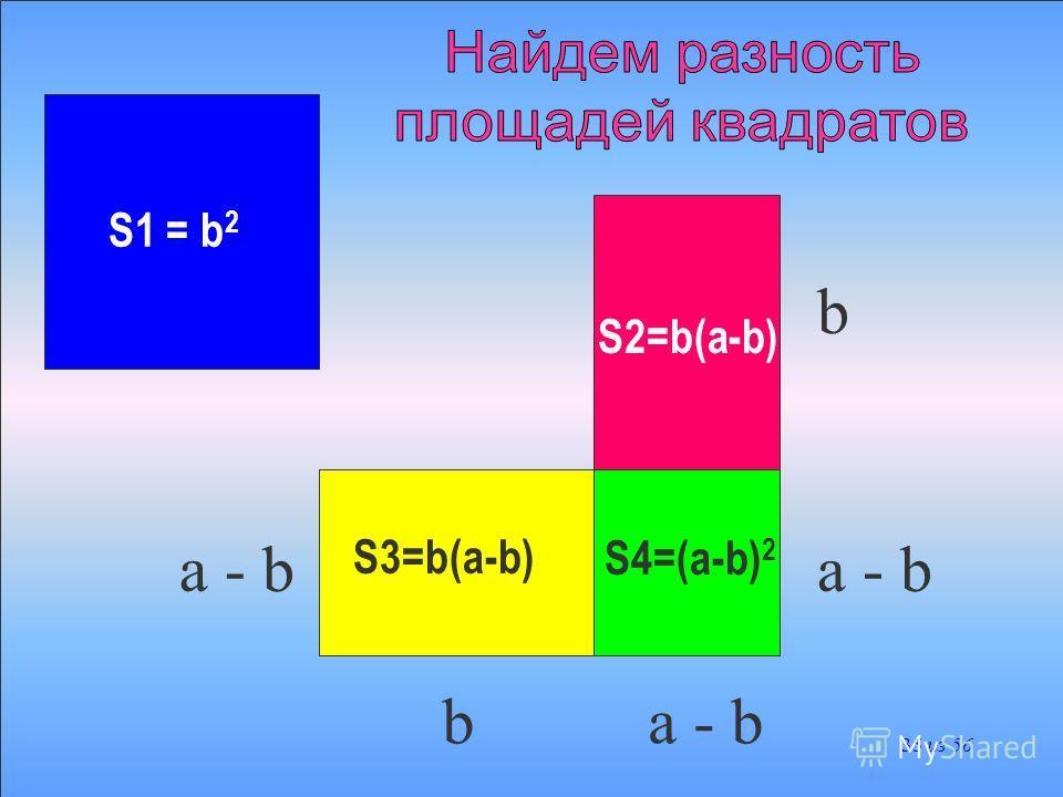 S1 = b 2 S2=b(a-b) S3=b(a-b)S4=(a-b) 2 b a - b b b 34 из 56