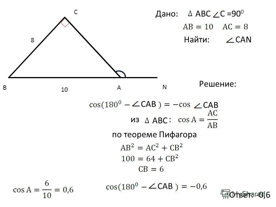 C AB N Дано:АВС C =90 0 Найти: Решение: Ответ: -0,6 CАN 10 8 CAB CАB из АВС : по теореме Пифагора CAB
