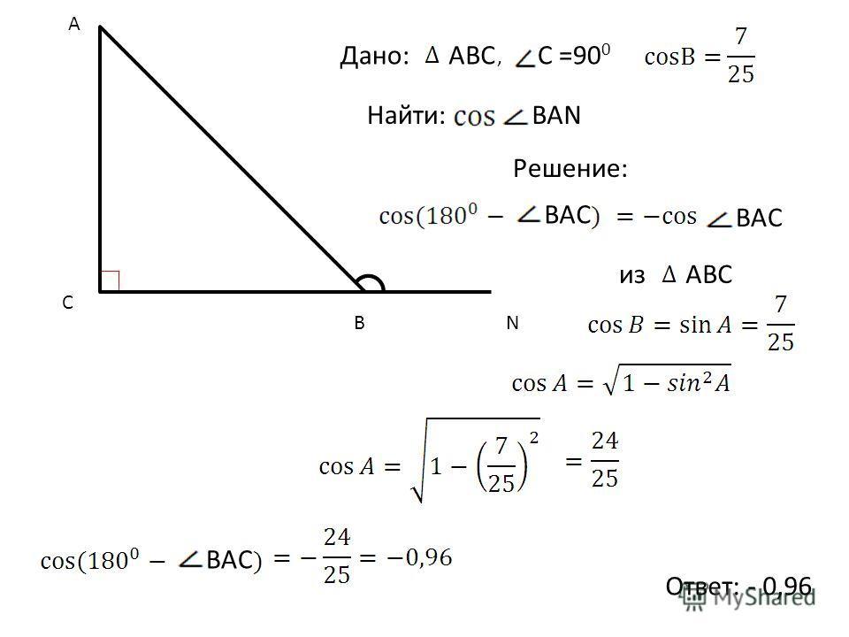 Найти: C A BN Дано:АВС, C =90 0 Решение: Ответ: - 0,96 ВАN BAC изАВС BAC