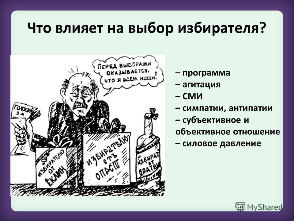 Что влияет на выбор избирателя? – программа – агитация – СМИ – симпатии, антипатии – субъективное и объективное отношение – силовое давление