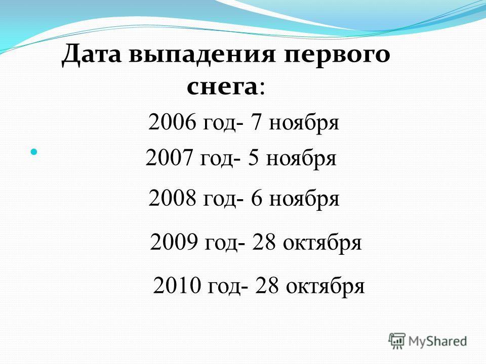 2006 год- 7 ноября Дата выпадения первого снега: 2007 год- 5 ноября 2008 год- 6 ноября 2009 год- 28 октября 2010 год- 28 октября