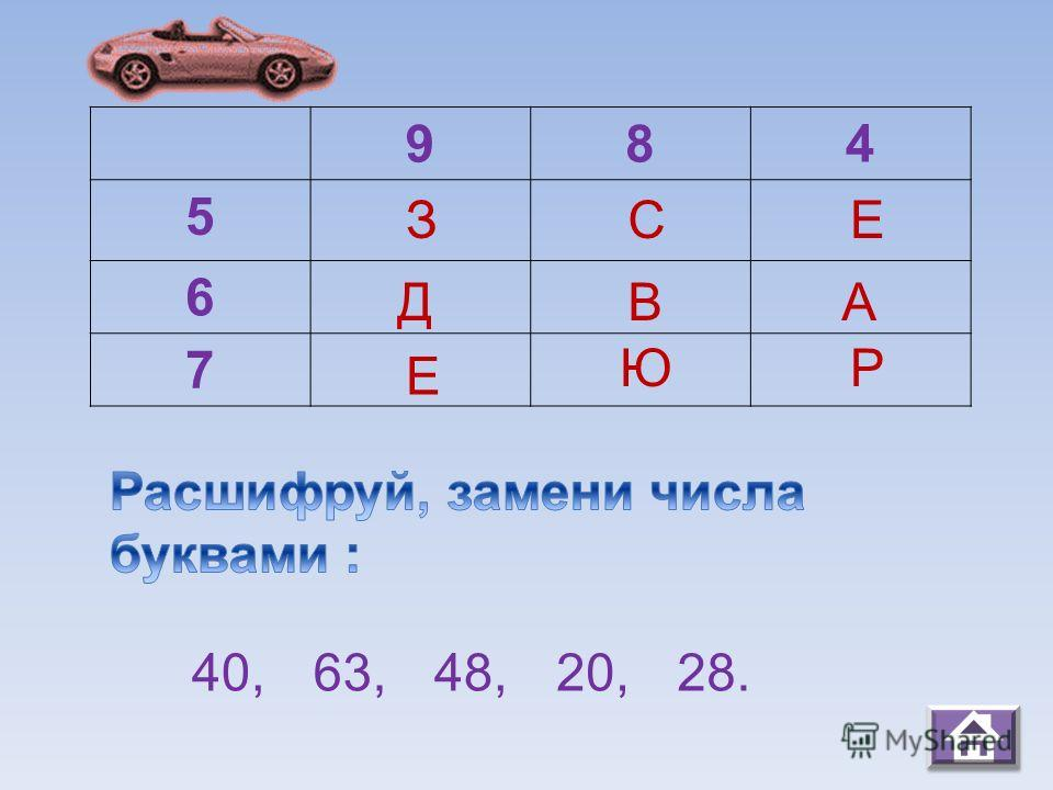 984 5 6 7 З Д А С В Ю П Р 45,24,20,63,54. А