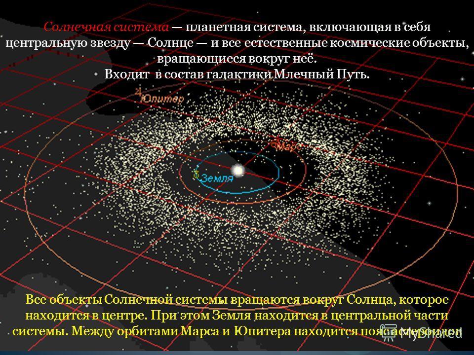 Все объекты Солнечной системы вращаются вокруг Солнца, которое находится в центре. При этом Земля находится в центральной части системы. Между орбитами Марса и Юпитера находится пояс астероидов Солнечная система планетная система, включающая в себя ц