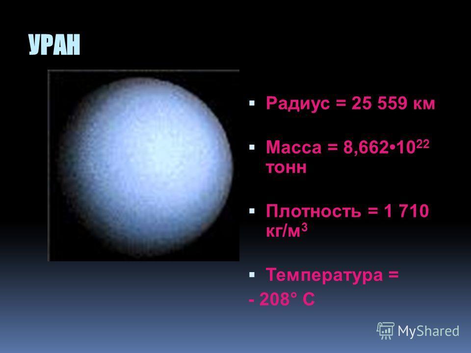 САТУРН Радиус = 60 268 км Масса = 5,685 10 26 кг Плотность = 690 кг/м 3 Температура = - 150 ° С