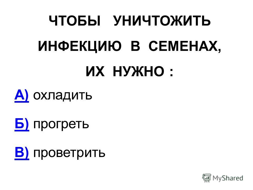 ЧТОБЫ УНИЧТОЖИТЬ ИНФЕКЦИЮ В СЕМЕНАХ, ИХ НУЖНО : А)А) охладить Б)Б) прогреть В)В) проветрить