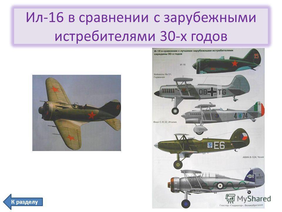 Ил-16 в сравнении с зарубежными истребителями 30-х годов К разделу