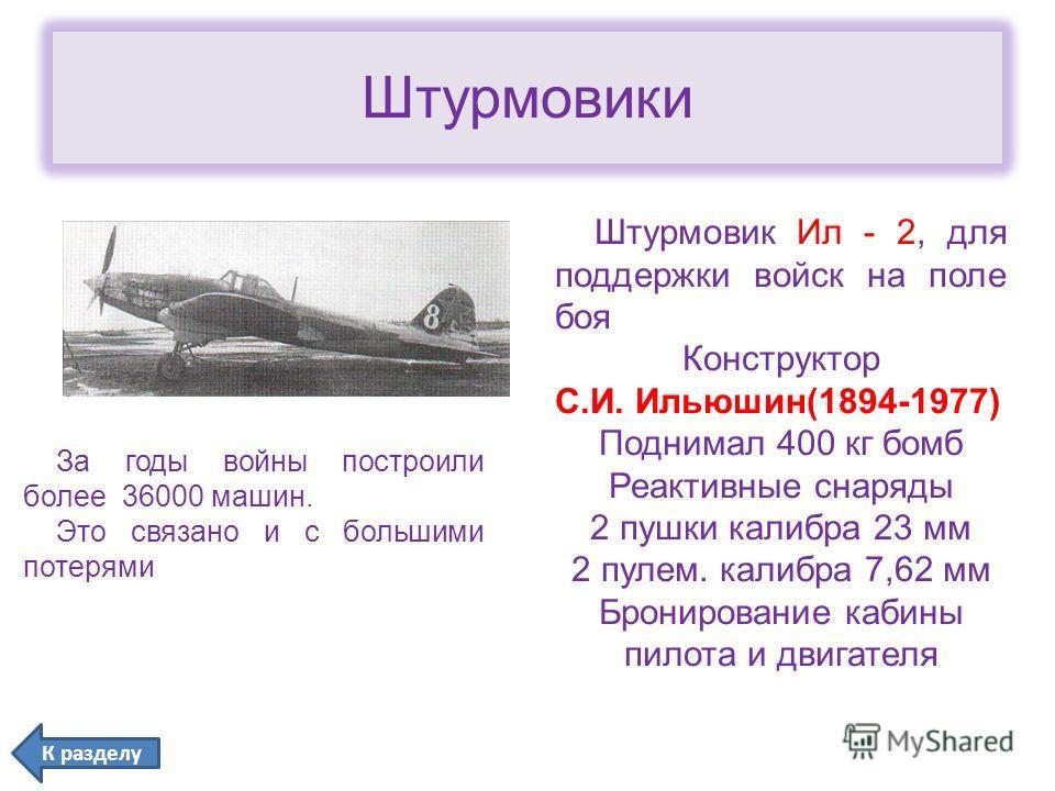 Штурмовики За годы войны построили более 36000 машин. Это связано и с большими потерями Штурмовик Ил - 2, для поддержки войск на поле боя Конструктор С.И. Ильюшин(1894-1977) Поднимал 400 кг бомб Реактивные снаряды 2 пушки калибра 23 мм 2 пулем. калиб
