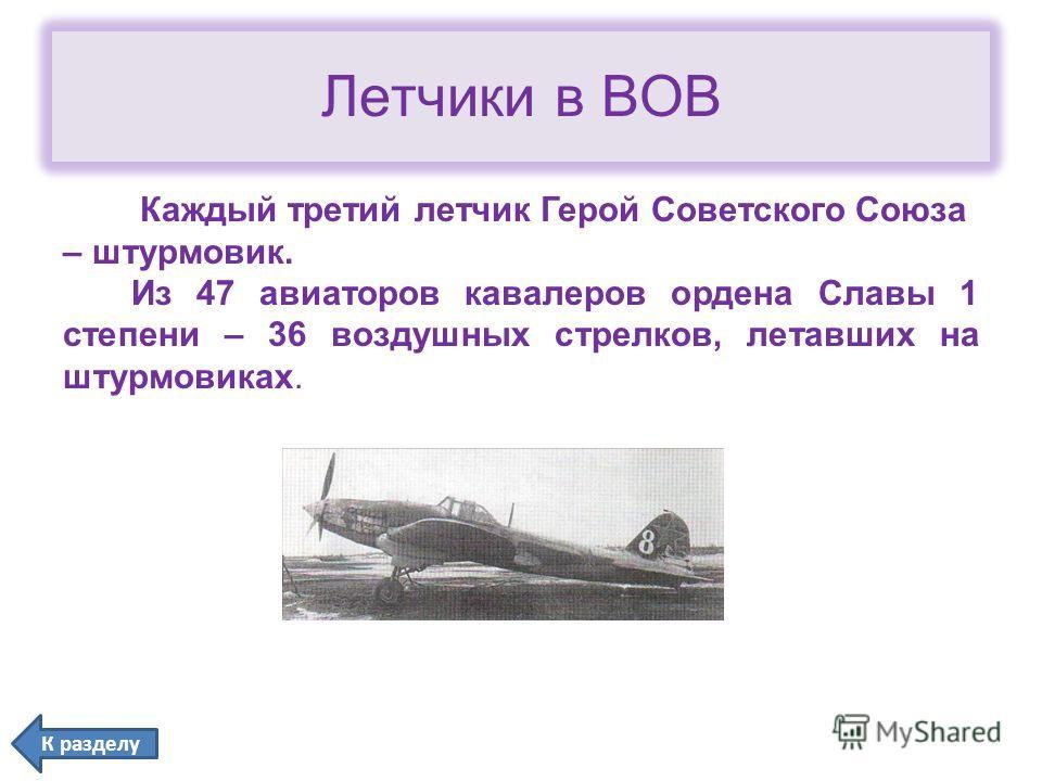 Летчики в ВОВ Каждый третий летчик Герой Советского Союза – штурмовик. Из 47 авиаторов кавалеров ордена Славы 1 степени – 36 воздушных стрелков, летавших на штурмовиках. К разделу