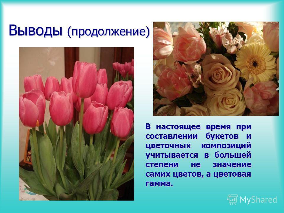 Выводы (продолжение) В настоящее время при составлении букетов и цветочных композиций учитывается в большей степени не значение самих цветов, а цветовая гамма. В настоящее время при составлении букетов и цветочных композиций учитывается в большей сте