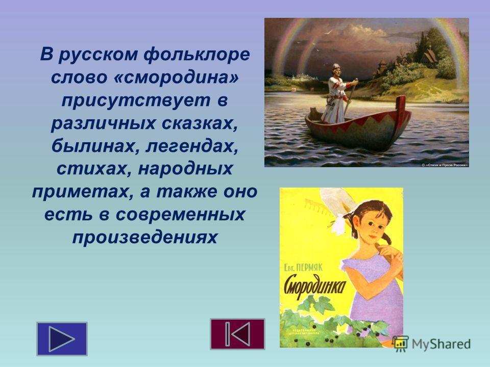 В русском фольклоре слово «смородина» присутствует в различных сказках, былинах, легендах, стихах, народных приметах, а также оно есть в современных произведениях