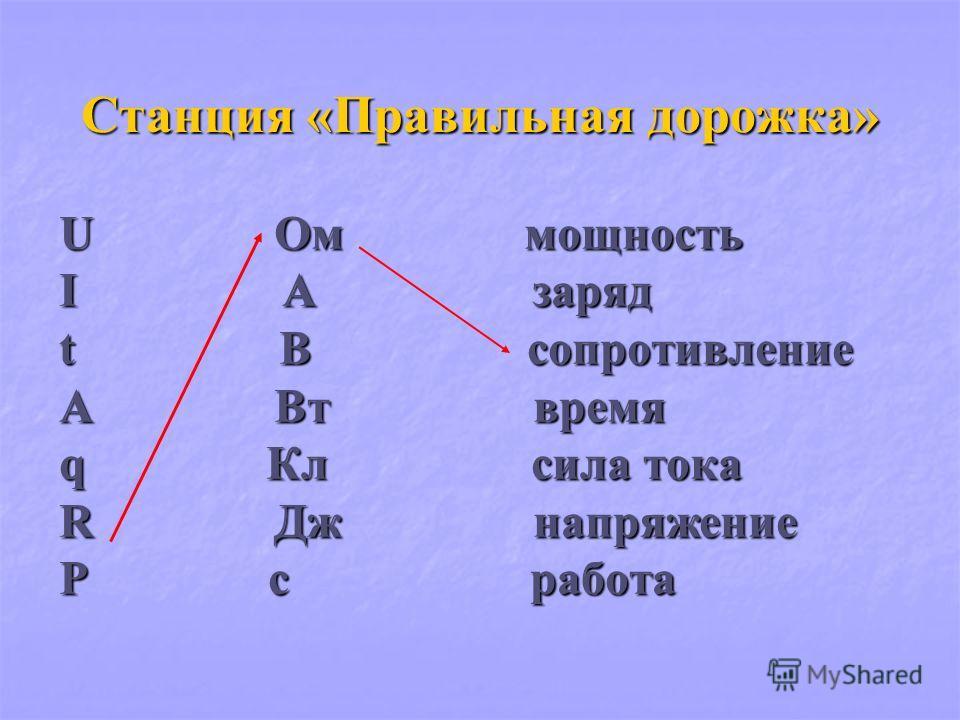 Станция «Правильная дорожка» U Ом мощность I А заряд t В сопротивление A Вт время q Кл сила тока R Дж напряжение P с работа