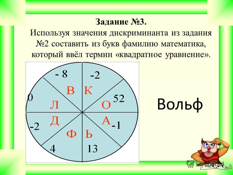 Задание 3. Используя значения дискриминанта из задания 2 составить из букв фамилию математика, который ввёл термин «квадратное уравнение». Вольф