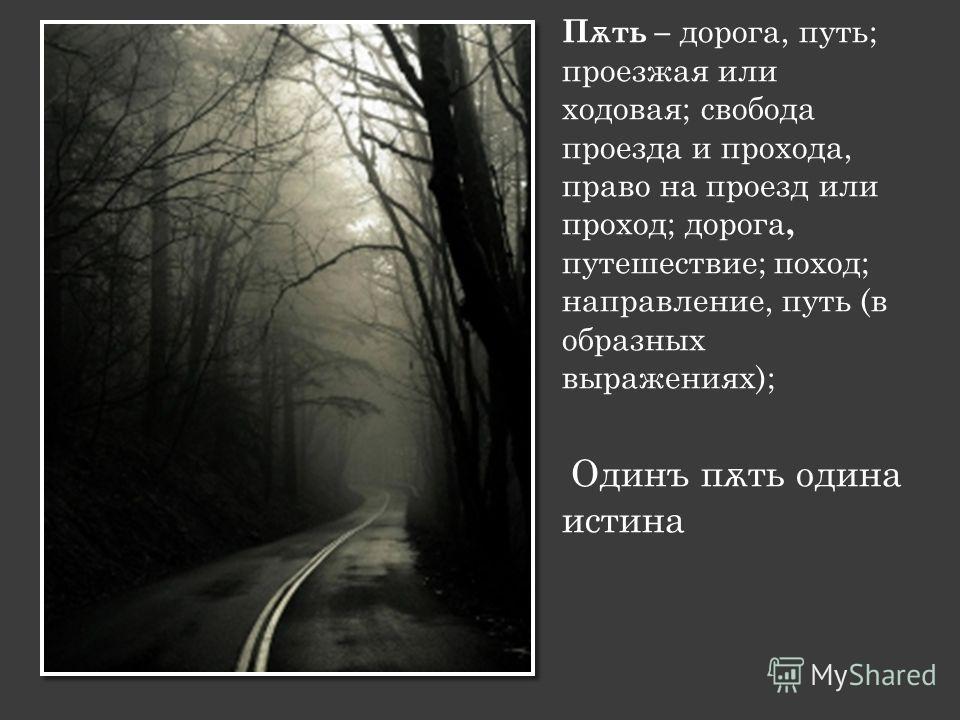 П ѫ ть – дорога, путь; проезжая или ходовая; свобода проезда и прохода, право на проезд или проход; дорога, путешествие; поход; направление, путь (в образных выражениях); Одинъ п ѫ ть одина истина