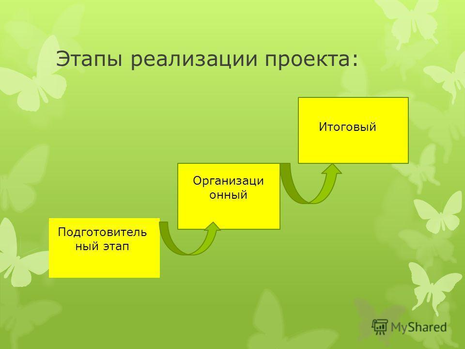 Этапы реализации проекта: Подготовитель ный этап Организаци онный Итоговый