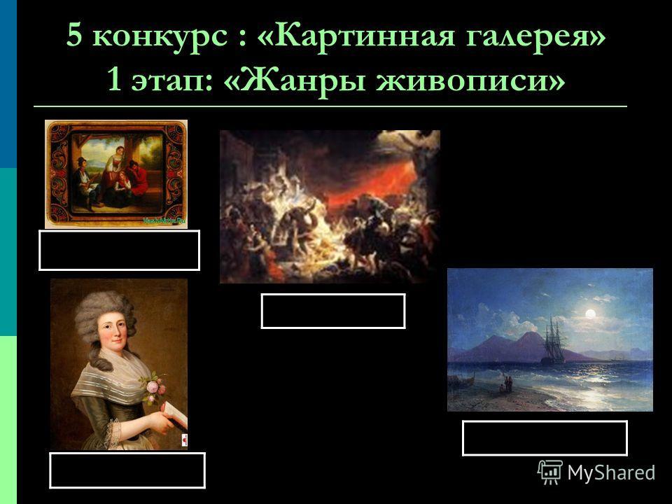 5 конкурс : «Картинная галерея» 1 этап: «Жанры живописи»