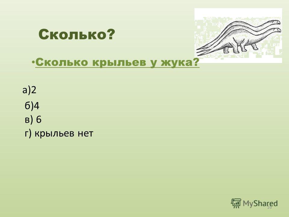 Сколько? Сколько крыльев у жука? а)2 б)4 в) 6 г) крыльев нет 16