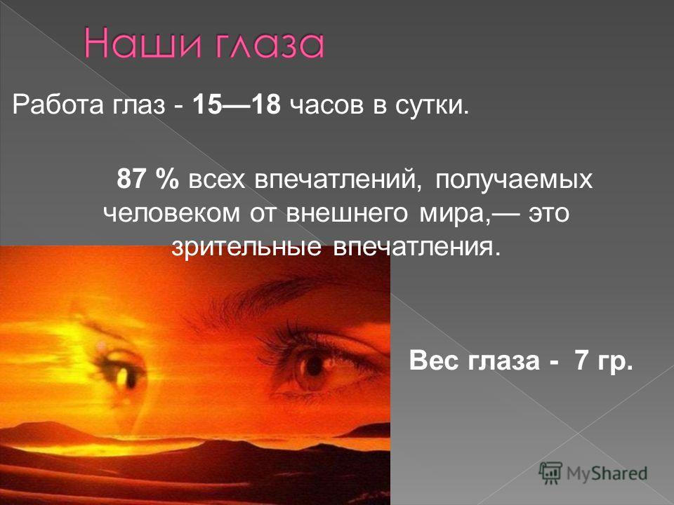 Работа глаз - 1518 часов в сутки. 87 % всех впечатлений, получаемых человеком от внешнего мира, это зрительные впечатления. Вес глаза - 7 гр.